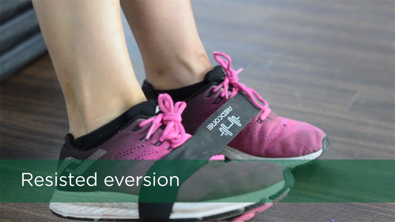 ankle sprain treatment, ankle strengthening exercise, resisted eversion