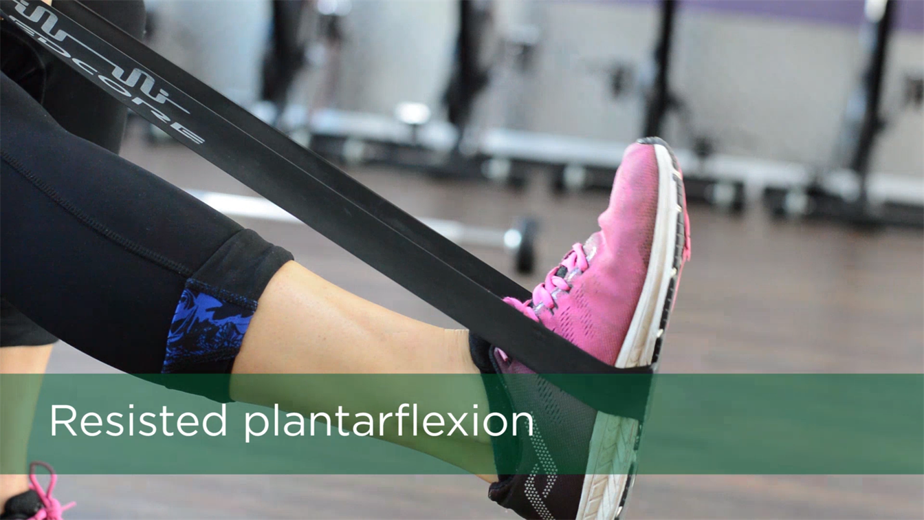 ankle sprain treatment, ankle strengthening exercise, resisted plantar flexion