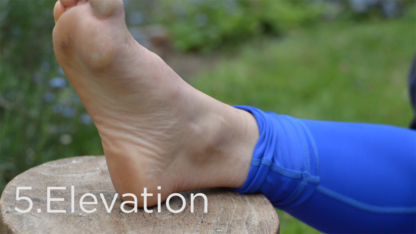ankle sprain treatment, elevation