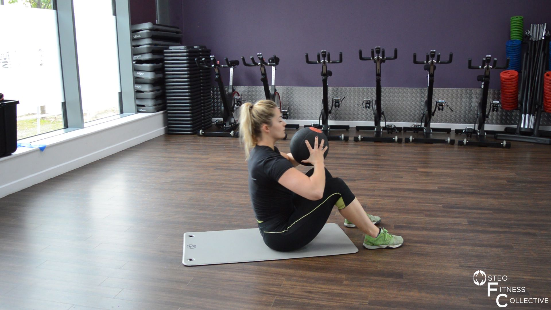 Medicine ball workout, rolling sit-up